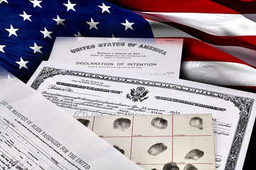 Immigration Identity Documents with US Flag