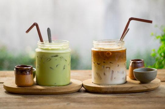 ice latte coffee and matcha green tea on wood table