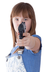 Pretty teen girl with a gun