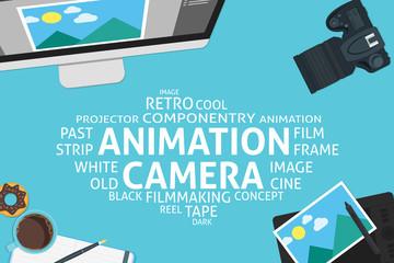 vector animation camera concept,template