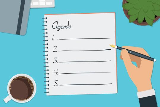 vector drawing agenda list concept