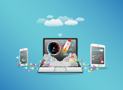 Laptop smart phone and tablet transferring data with hi speed internet