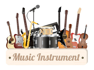 music instrument wood board with electric acoustic guitar bass drum snare violin ukulele saxophone keyboard microphone and headphone