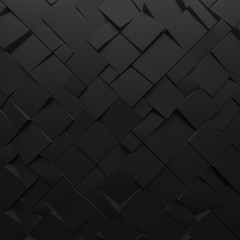 Black abstract squares backdrop. Geometric polygons, as tile wall