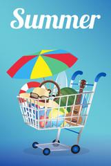 Summer item on a shopping cart