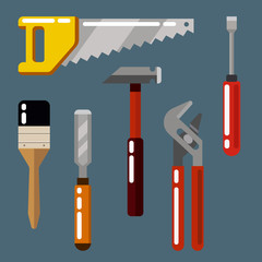 A set of working tools displayed. Construction tools icons. Flat style vector illustration