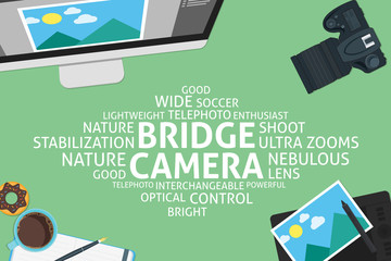 vector bridge camera concept,template