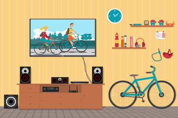 Home cinema system in interior room with bike. Home theater flat