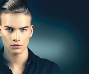 Fashion model man portrait. Handsome guy closeup