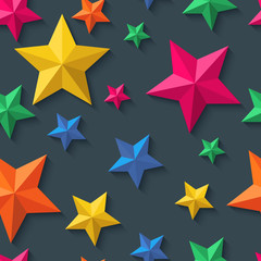 Vector seamless pattern with 3d stylized paper stars on black background. Holiday, night party colorful background.