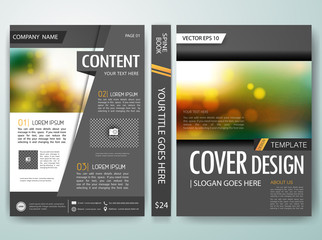 Gray cover book, Annual report brochure magazine flyer poster design template vector, Leaflet cover presentation abstract bokeh blur background, layout in A4 size.