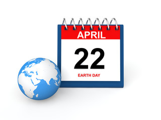 3d render of desk calendar and earth globe with Earth day date