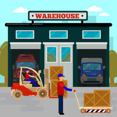 Warehouse Building. Cargo Industry. Worker on Forklift. Cargo Logistic