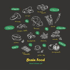 Brain food. Hand drawn set