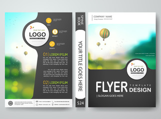 Flyers design template vector.Can be used as brochure annual report poster magazine. Leaflet cover book presentation with balloon and blue sky background.Layout in A4 size.illustration