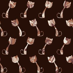 Cats seamless pattern. Vector illustration