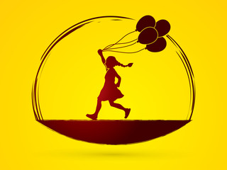 Little girl running with balloons graphic vector.