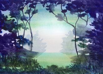 watercolor background with trees in the evening as a frame