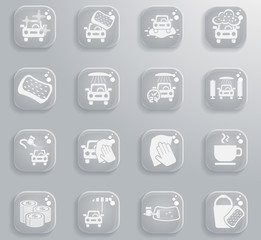 car wash service icon set
