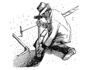 Horticulture vintage illustration, farmer works with hammer and pick making a flower bed border with bricks