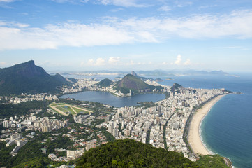 The scenic view of Ipanema Beach and Lagoa as viewed from the top of Dois Irmaos Two Brothers Mountain