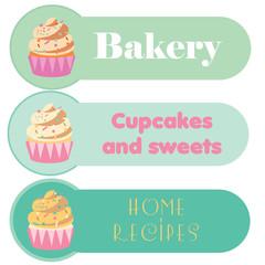 Three cupcake banners