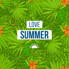 Summer tropical background of palm leaves and flowers.
