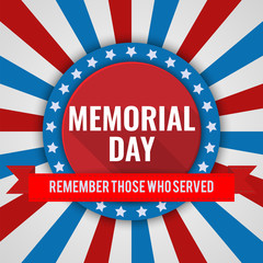 Memorial Day background. Vector illustration with text and ribbon for posters, flyers, decoration. White text with long shadows.