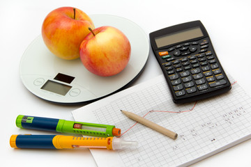 Education about controlling diabetes - counting carbohydrates and blood sugar measurements for thoroughly insulin treatment