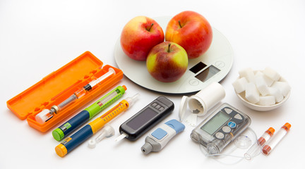 Education about what you need to control diabetes: insulin pump, blood sugar meter, insulin pen, glucose injection (adrenalin), sugar (for low blood sugar), counting carbohydrates