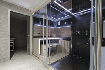Modern Finnish sauna with neon lights. Beautiful  interior home