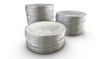 Three stacks of quarter dollar coins on white background. 3d ren Fototapete