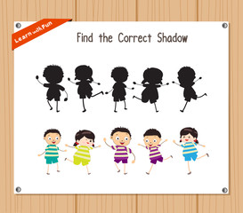 Find the correct shadow, education game for children - Fruits