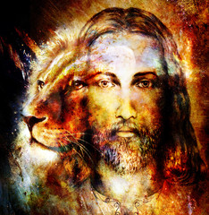 painting of Jesus with a lion, on beautiful colorful background with hint of space feeling, lion profile portrait.
