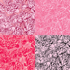 Seamless pattern with Realistic handdrawn flowers - peony - back