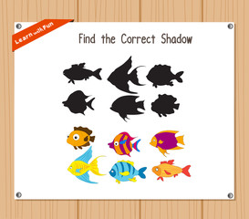 Find the correct shadow, education game for children - Fish