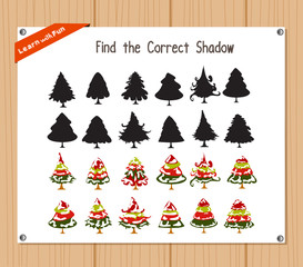 Find the correct shadow, education game for children - Christmas house