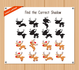 Find the correct shadow, education game for children - Christmas deer