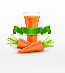 vector glass of carrot juice and two carrots isolated on white b