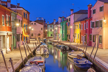 Canal and colorful houses on Burano Island