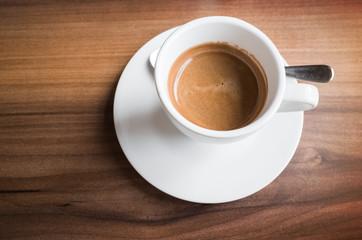 Cup of freshly brewed espresso coffee