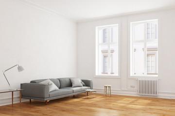 Sofa in Wohnzimmer in Wohnung im Altbau