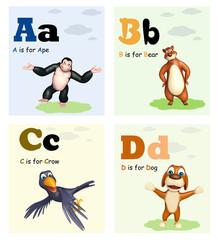 Ape, Bear, Crow and Dog with Alphabate