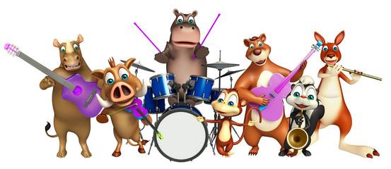 Bear,Hippo,Monkey,Rhino,Skunk and Kangaroo  collection with prop