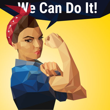 We Can Do It. Woman's symbol of female power and industry made with polygons