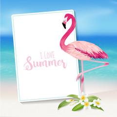 Tropical Background. Tropical Flower and Flamingo Bird. Beach Background