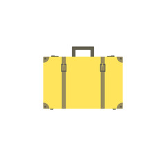 Yellow suitcase with buckles and straps isolated on white background. Suitcase for travel and business trips.