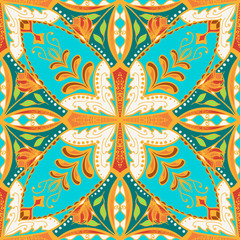 Vector beautiful colored pattern for design and fashion with decorative elements. Floral ethnic bandana