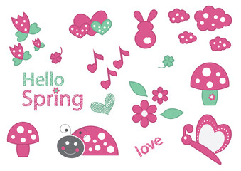 Cute collection with ladybug,flowers,butterfly and cute typography