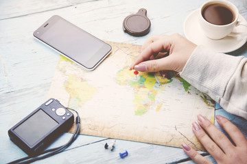 woman and map